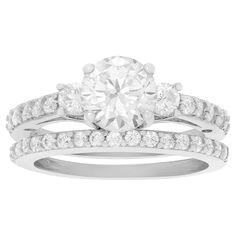 1 2/5 CT. T.W. Round-cut Cubic Zirconia Engagement Prong Set Ring Set in Sterling Silver - Silver, 9, Women's