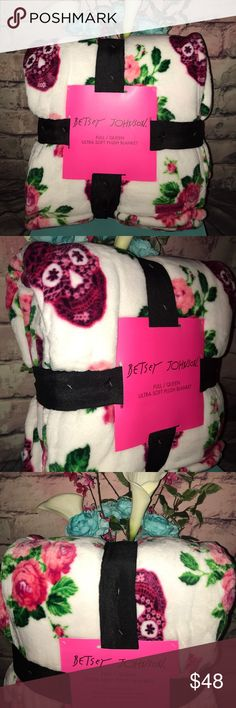 Betsey Johnson RARE Skull Rose Queen Blanket Ultra Plush and easy to care. Machine wash and tumble dry. Measures 90x90 fits full as well Betsey Johnson Accessories