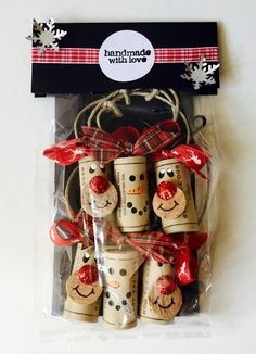Set of 6 Snowman and Rudolph Wine Cork Ornaments.  Christmas party/Cookie Swap favors.  Handmade from recycled corks!