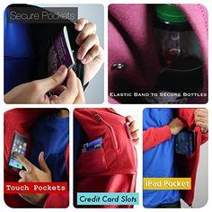 AyeGear H13 Hoodie with 13 Pockets, iPad or Tablet Pocket, MultiPocket Zip Up Fleece Jacket: Amazon.co.uk: Clothing