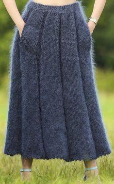 Crochet Skirts, Knit Skirt, Crochet Clothes, Knit Dress, Midi Skirt, Newspaper Crafts, Angora, Knit Fashion, Crochet Projects