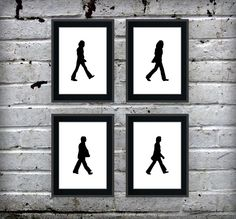 Beatles inspired - Set of 4 Walking Silhouettes - 5x7 Prints. $12.00, via Etsy.