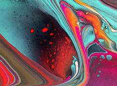 Inner Heat  Poured fluid acrylic artwork by Nancy Wood http://www.nancywoodartanddesign.com