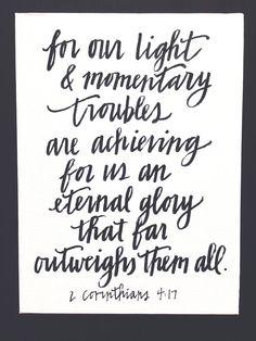 2 Corinthians 4:17 calligraphy