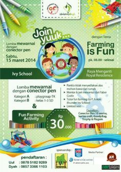 "Lomba Mewarnai ""Farming Is Fun"" Sabtu, 15 Maret 2014 At Ivy School, Raya Menganti Royal Residence 08.00 – selesai  http://eventsurabaya.net/lomba-mewarnai-farming-is-fun/"