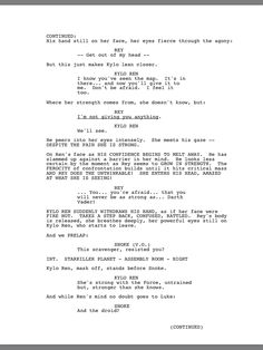 2/2 Kylo Ren and Rey interrogation scene from the official The Force Awakens script