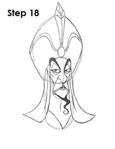 How to Draw Jafar Step 18 Disney Character Sketches, Cartoon Sketches, Disney Sketches, Drawing Sketches, Character Art, Draw Disney, Disney Art, Easy Disney Drawings, Easy Drawings