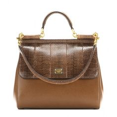Dolce & Gabbana Sicily Leather and Snakeskin Tote (197.070 RUB) ❤ liked on Polyvore featuring bags, handbags, tote bags, brown, leather tote, leather tote purse, snake skin purse, tote handbags and leather purse