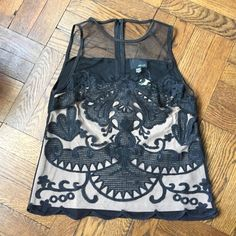 """Anthropologie tank Greylin for anthropologie. Beautiful sheer embroidered detail. Built in nude layer and back zip detail. Scalloped edge. 20.5"""" L and 15"""" underarm to underarm. Anthropologie Tops Blouses"""