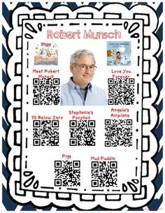 Listen+to+Robert+Munsch+stories+by+using+QR+codes.+This+is+great+for+a+listening+center+during+the+Daily+5+and+for+using+during+Author+of+the+Month.+There+are+6+stories+included+and+a+Meet+Robert+Munsch+video+of+how+he+got+started+on+writing+books.