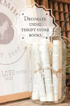 Decorate with Thrift Store Books! is part of Thrift store decor - Do you find books at the thrift store and don't know what to do with them Stop by! I'l lshow you how to decorate with thrift store books! Diy Vintage, Vintage Home Decor, Vintage Paper, Cheap Home Decor, Diy Home Decor, At Home Decor Store, Thrifty Decor, Thrift Store Crafts, Thrift Store Outfits