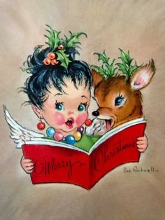 Items similar to Vintage Christmas Card Cherubic Girl Singing with Reindeer Art by Eve Rockwell on Etsy Vintage Christmas Images, Old Fashioned Christmas, Christmas Deer, Christmas Past, Retro Christmas, Vintage Holiday, Christmas Pictures, Christmas Angels, Christmas Girls