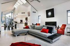 Living: Modern Black White Red Living Room: Modern Decorating ...