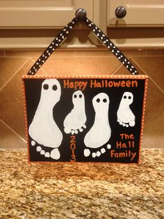 Halloween family footprint ghosts
