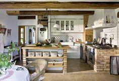 Idéias de design de cozinha para sua cozinha elegante - must-haves - Rustic Kitchen, Country Kitchen, Kitchen Dining, Kitchen Decor, Kitchen Brick, Nice Kitchen, Decorating Kitchen, Elegant Kitchens, Beautiful Kitchens