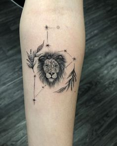 We found the most beautiful variety of Leo zodiac tattoos ranging from small and feminine to constellations and zodiac symbols. Leo Lion Tattoos, Leo Zodiac Tattoos, Horoscope Tattoos, Leo Symbol Tattoos, Lion Back Tattoo, Irish Tattoos, Tattoo Hand, Celtic Tattoos, Small Arm Tattoos