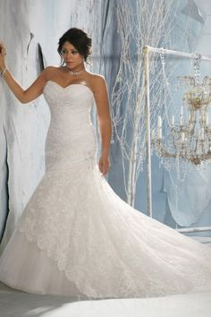 STUNNING!!!! Mermaid Sweetheart Chapel Train Tulle Lace Plus Size Wedding Dress