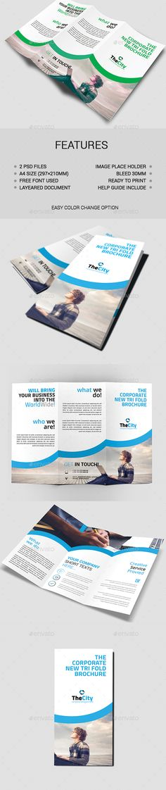 Tri-Fold Brochure Design Template - Brochures Print Template PSD. Download here: https://graphicriver.net/item/trifold-brochure/17674849?ref=yinkira