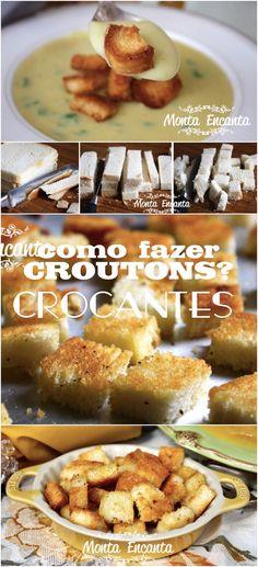 Como fazer croutons crocantes?   Crouton é um pequeno pedaço de pão, frito ou assado com óleo, azeite ou manteiga, utilizado para acompanhar sopas ou saladas.