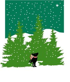 Black Lab black lab in evergreens winter scene print in mat - rich teal and forest greens, snowy sky, small black lab gazing skyward. 8 x 10 inch print in 11 inch mat in a cello sleevesweet gift Black Labs, Black Labrador, Black Lab Puppies, Corgi Puppies, Puppy Classes, Winter Illustration, Dog Grooming Business, Labrador Retriever Dog, Illustrations