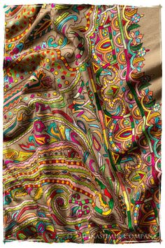 One-of-a-Kind Shawl in the world It's almost as if you've been transported back in time to Renaissance Venice. Each time you wear your new shawl, the vibrancy of its vivid palette is a perfectly appro Textile Pattern Design, Paisley Pattern, Swirl Pattern, Silk Shawl, Pashmina Shawl, Hand Embroidery, Embroidery Designs, Kashmiri Shawls, Indian Patterns