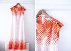 1970s fish scale print full length dress, from Style Slicker
