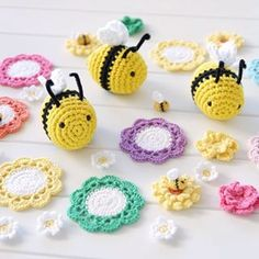 Amigurumi bees and crochet flowers