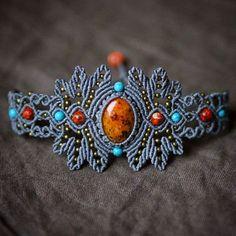 Macrame bracelet with jasper, variscite and turquoise beads #macrame…