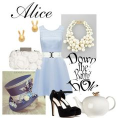 Designer Clothes, Shoes & Bags for Women Modern Disney Outfits, Modern Disney Characters, Disney Dresses, Alice Cosplay, Alice Costume, Disney Fashion, Fashion Outfits, Women's Fashion, Alice In Wonderland Outfit
