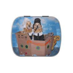 Golden Retriever Pilgrim Mayflower Thanksgiving Jelly Belly Candy Tins