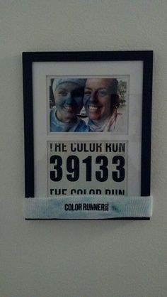 5x7 picture from The Color Run 5K, trimmed down the number tag a little, framed and put the headband around bottom. AWESOME keepsake!  @Shannon Cox - a must do :)    Absolutely Dis!