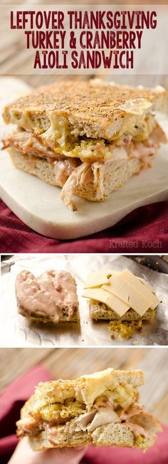 Probably not clean eating, but yum. Leftover Thanksgiving Turkey and Cranberry Aioli Sandwich - Krafted Koch - The perfect way to enjoy the best parts of Thanksgiving with this leftover sandwich recipe! Thanksgiving Leftovers, Thanksgiving Recipes, Holiday Recipes, Great Recipes, Favorite Recipes, Happy Thanksgiving, Turkey Sandwiches, Wrap Sandwiches, Leftovers Recipes