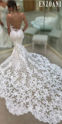 Summer Wedding Ideas sexy wedding dresses ideas mermaid lace low back spaghetti straps enzoani - Don't want to look like white princess in your wedding dress on your big day? We collected for you some sexy wedding dresses which are elegant alternatives.