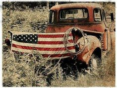 """Perfect Pin for the Fourth of July! """"Lisa Ceaser / Americana 1949 GMC Jimmy and American Flag matted Print"""" - Lang Chevy Ford Ranger, Cool Trucks, Cool Cars, Farm Trucks, Country Trucks, Fancy Cars, Diesel Trucks, Classic Trucks, Classic Cars"""