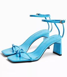 Topshop Nature Blue Strappy Block Heels