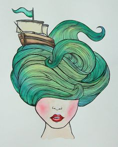 I almost want blue-green hair now so I can wear a boat in my hair.