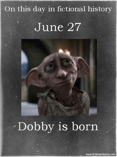 My BFF and Dobby share the same bday. Harry Potter Facts, Harry Potter Books, Harry Potter Love, Harry Potter Universal, Harry Potter Fandom, Harry Potter World, Dobby Harry Potter, Harry Potter Characters Birthdays, Harry Potter Birthday