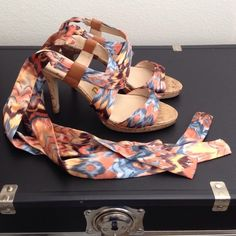 Host Pick  Sandal Heal w/Ribbon Ankle Ties Super cute!  Worn a few times, still in really really good condition!  Just some mild wear on the bottoms.  No original box.  Bundles save more!!  No trades.  No holds.  Unisa Shoes Heels