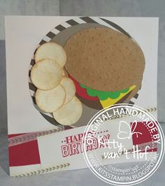 "KIT's Cards: Punch art ""broodje hamburger"", Stampin' Up!, stampin up, stoer, jongen, verjaardag"