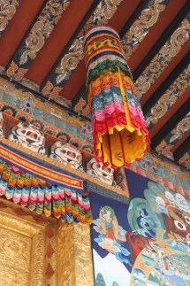 Punakha dzong temple textiles and extreme surface designs