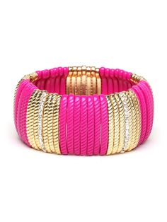 If you're going to go bold, go bold all the way. Not only does this spectacular bracelet come cast in pretty hot pink and dazzling gold, but it's audaciously oversized and features a twisted rope motif for added texture.  via @baublebar