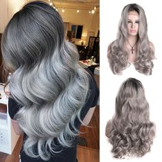 37.55$  Watch now - http://ai4fm.worlditems.win/all/product.php?id=32779678918 - Long Wavy Synthetic Front Lace Wig Grey Wigs With Dark Roots Lace Front Wigs For White Black Women Pelucas Pelo Natural Cosplay