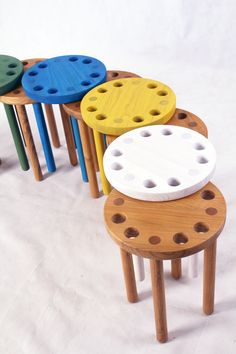 Kyuhyung Cho designed the Poke Stool for British brand Innermost. It features four round legs and has eight holes in the seat. Weird Furniture, Folding Furniture, Deco Furniture, Home Decor Furniture, Furniture Design, Plywood Projects, Wood Stool, Distressed Furniture, Cool Chairs