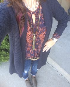 Cabi countryside sweater and dark destruction jeans