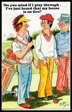 Early 1970 Signed comic Sports Postcard Golf Niblick club Ball NFS Re-Enactor