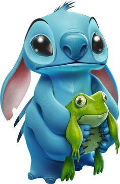 Stitch and a frog! Omg that's so cute!