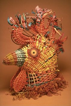 Rooster Costume Headpiece out of Basketry