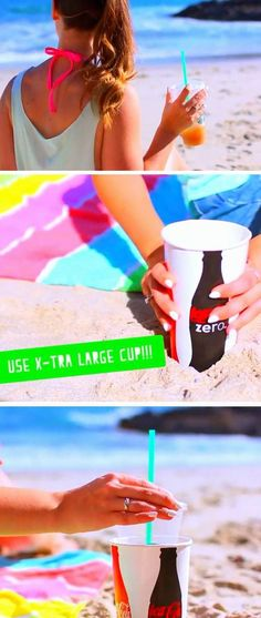Keep Sand from Drinks with Extra Large Cups as Holders | 22 DIY Beach Hacks for Teens that will change your life!