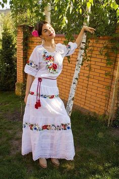 """Items similar to Hand embroidered dress """"Soul flower"""" ukrainian hand embroidery on Etsy Mexican Skirts, Mexican Blouse, Mexican Outfit, Mexican Embroidered Dress, 15 Dresses, Nice Dresses, Casual Dresses, Fashion Dresses, Mexican Costume"""