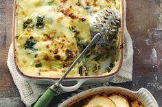 15 oktober - Prei in de bonus - Verwarmende en supersmeuïge pasta met spekjes, tuinerwten en bechamelsaus - Recept - Allerhande